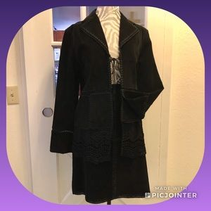 Dresses & Skirts - Suede Jacket & Skirt w/Crocheted Trim - 2 Pieces!